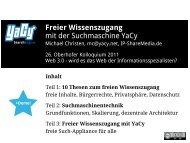 Freier Wissenszugang mit der Suchmaschine YaCy