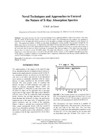 Novel Techniques and Approaches to Unravel the Nature of X-Ray ...