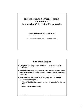 Introduction to Software Testing Chapter 7.2 Engineering Criteria for ...
