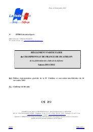 RÈGLEMENT PARTICULIER du CHAMPIONNAT DE FRANCE DE ...