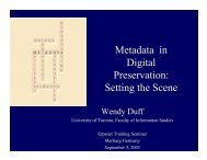 Metadata in Digital Preservation: Setting the Scene - ERPANET