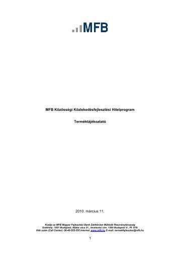 MFB Közösségi Közlekedésfejlesztési Hitelprogram Terméktájékoztató