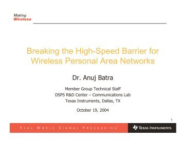 Breaking the High-Speed Barrier for Wireless ... - Cvt-dallas.org