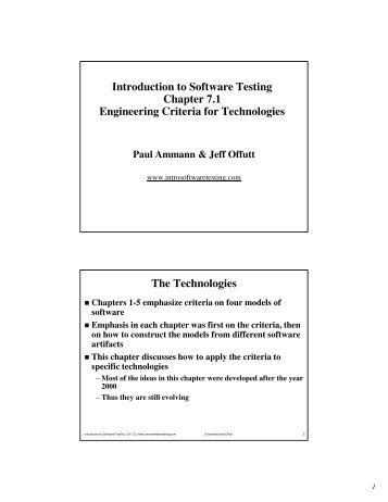 Introduction to Software Testing Chapter 7.1 Engineering Criteria for ...