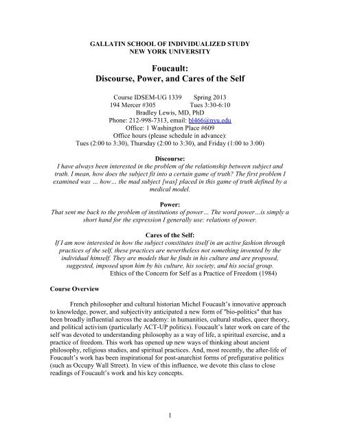 Foucault: Discourse, Power, and Cares of the Self - Gallatin
