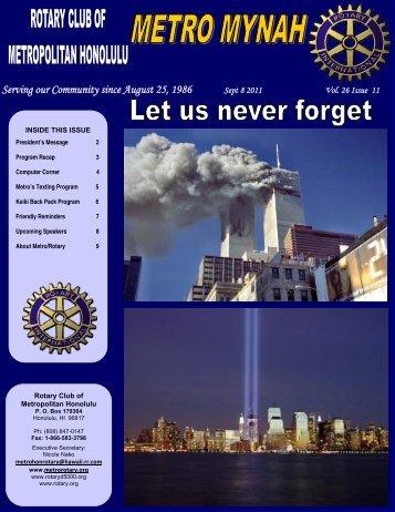 September 8, 2011 - Rotary Club of Metropolitan Honolulu
