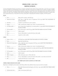 DRESS CODE –2010/2011 MIDDLE SCHOOL - Glenelg Country ...