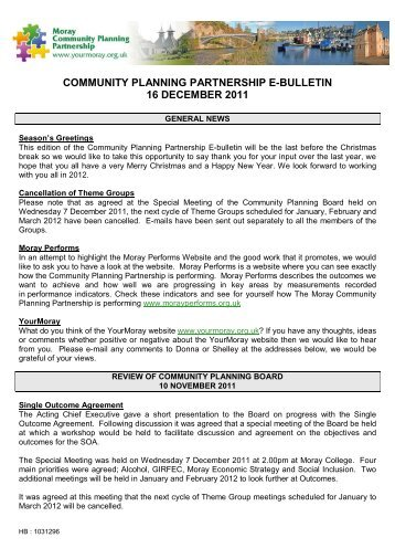 16 December 2011 - Moray Community Planning Partnership