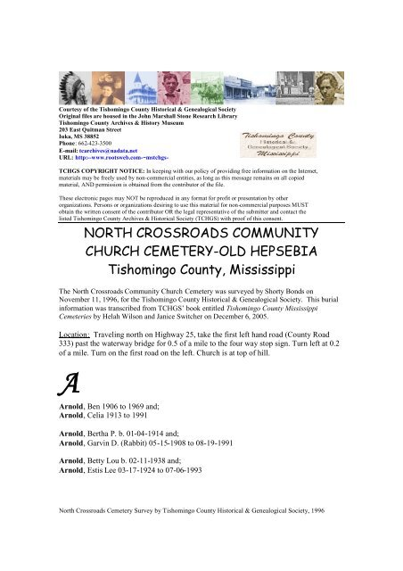 NORTH CROSSROADS COMMUNITY CHURCH CEMETERY-OLD ...