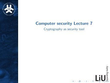 Computer security Lecture 7 - Cryptography as security tool