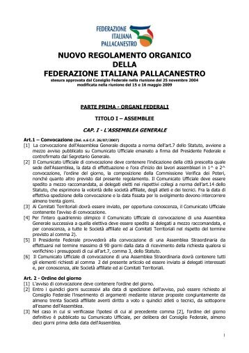 Regolamento Organico 2008-2009.pdf - Comitato Italiano Arbitri ...