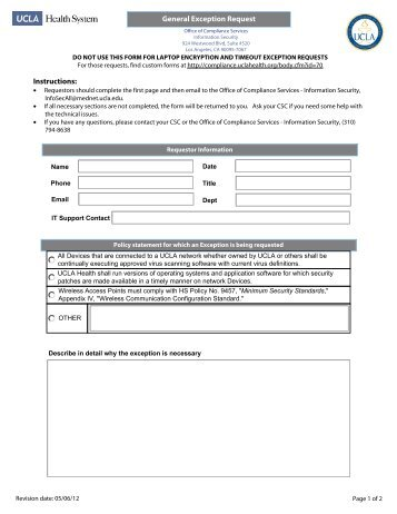 General Exception Request Form - Office of Compliance Services
