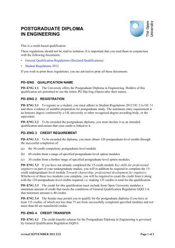 Postgraduate Diploma in Engineering - The Open University