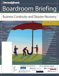 Business Continuity and Disaster Recovery - Directors & Boards