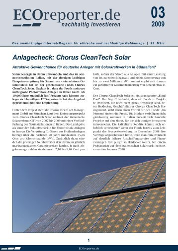 Anlagecheck: Chorus CleanTech Solar - ECOreporter.de