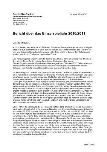 Einzelsport Braemer - Bezirk Oberfranken