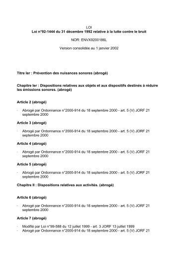 10/11/2010 Loi n°92-1444 du 31 décembre 1992 - Bruitparif
