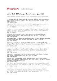 recent acquisitions (FR) - Sciences Po