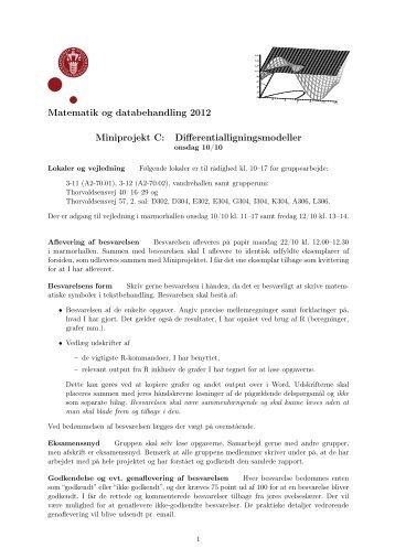Matematik og databehandling 2012 Miniprojekt C ...