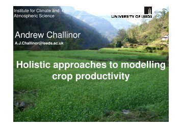 Holistic approaches to modelling crop productivity - JULES
