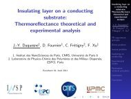 Insulating layer on a conducting substrate - Université de Poitiers