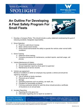 Safety Rules Model Fleet Safety Program-Short - State Auto