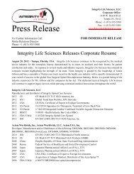 Integrity Life Sciences Corporate Resume