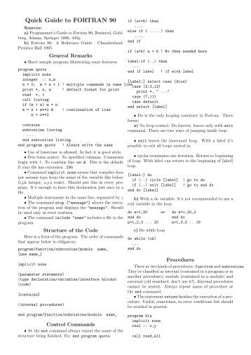 Programmers guide to fortran 90 pdf to excel