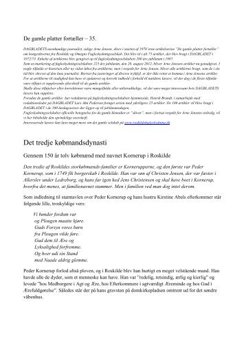 Det tredje købmandsdynasti - roskildefugleskydning.dk