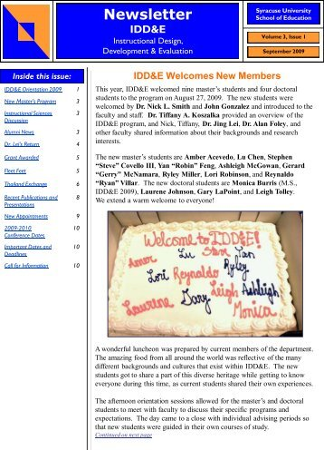Newsletter IDD&E - School of Education - Syracuse University
