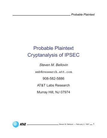 Probable Plaintext Cryptanalysis of IPSEC