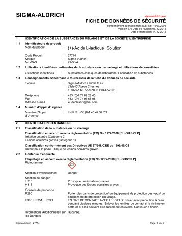 (+)-Acide L-lactique, Solution - Mep