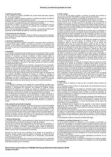 Términos y Condiciones generales de venta - Toshiba Tec