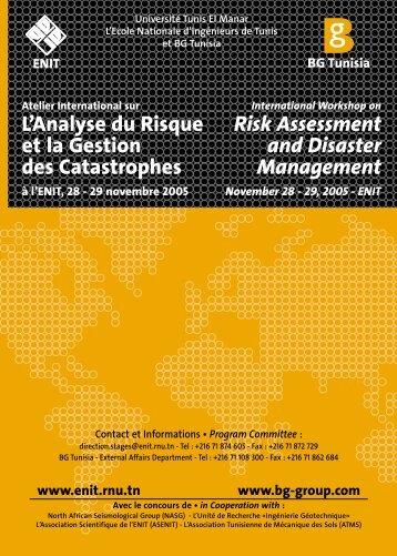 L'Analyse du Risque et la Gestion des Catastrophes Risk - Enit
