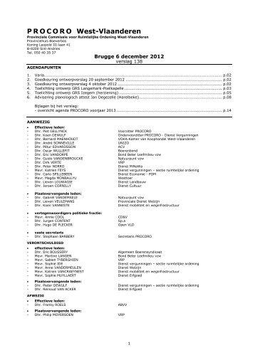 verslag nr. 138 - vergadering van 6 december 2012 - Provincie West ...