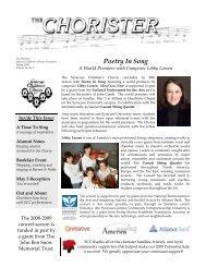 The Chorister Spring 2009 - Syracuse Childrens Chorus