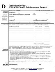 Dependent Care FSA Reimbursement Form - Human Resources at ...