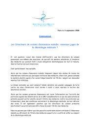 communiqué du Cnom - Département d'information médicale