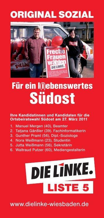 Flyer Ortsbeiratswahl Südost - DIE LINKE. Wiesbaden
