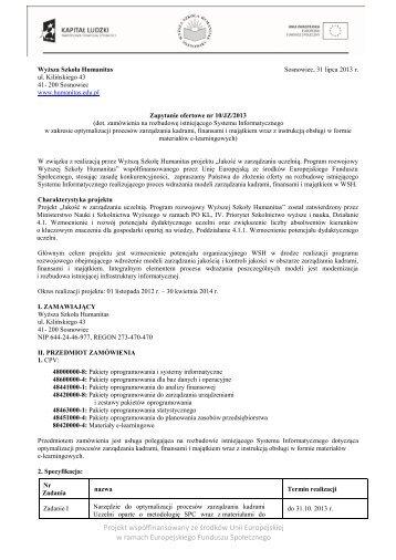 Projekt współfinansowany ze środków Unii Europejskiej w ramach ...