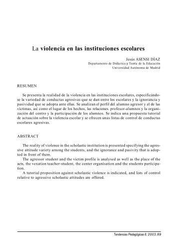 La violencia en las instituciones escolares - Revista Tendencias ...