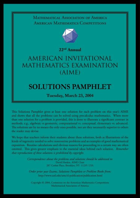 SOLUTIONS PAMPHLET - RHHS - Math