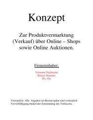 (Verkauf) über Online – Shops sowie Online Auktionen. - B2B ...