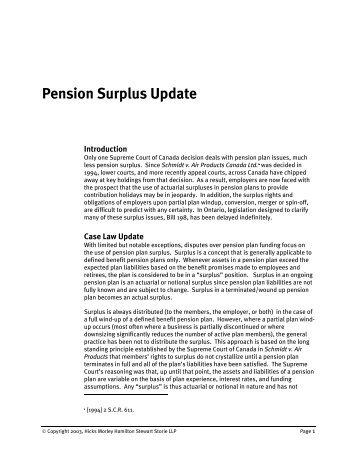 Pension Surplus Update - Hicks Morley