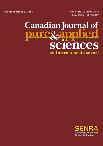 Previous Issue - Canadian Journal of Pure and Applied Sciences