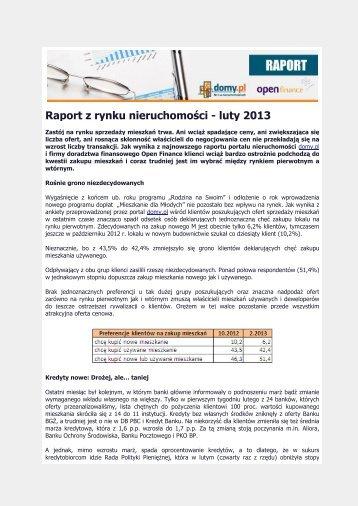 Raport z rynku nieruchomości - luty 2013 - QBusiness.pl