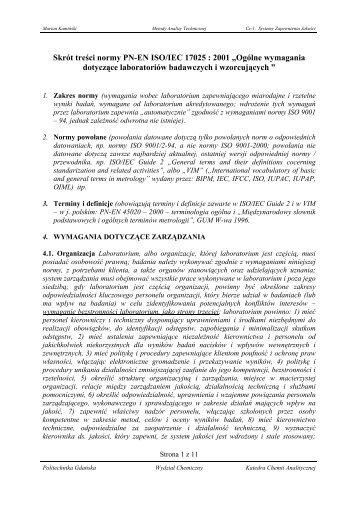 "Skrót treści normy PN-EN ISO/IEC 17025 : 2001 ""Ogólne ..."