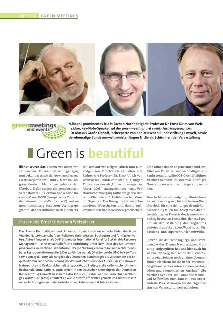 Green is beautiful - Convention-International