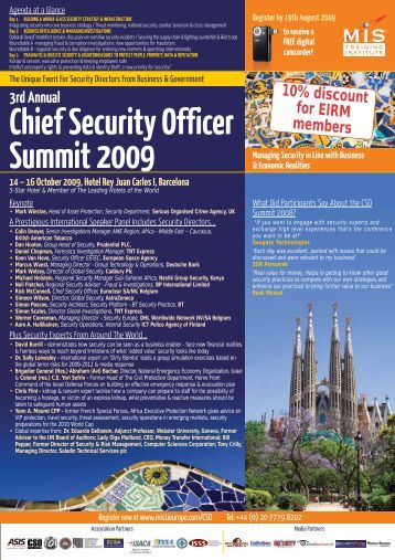 3rd Annual Chief Security Officer Summit 2009 - primo