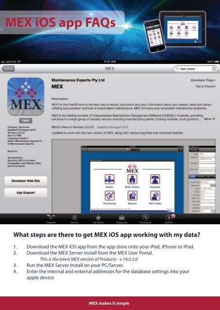 MEX iOS app FAQs